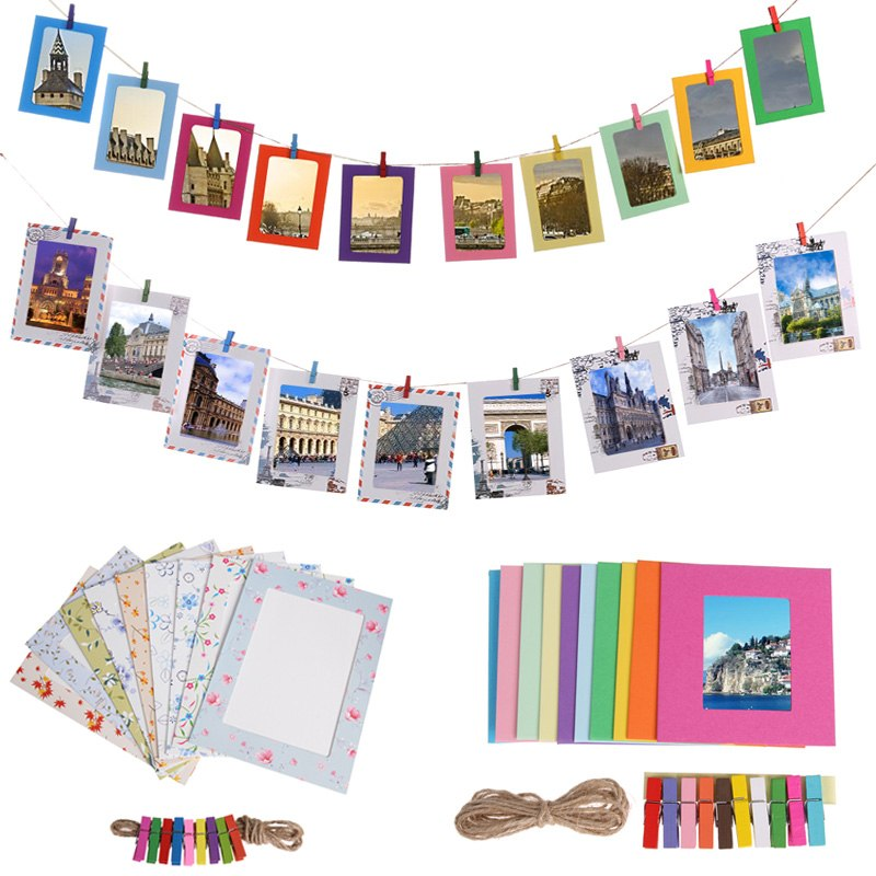 DIY Kraft Picture Frame Paper Photo Album 3/4/5/6/7inch Wall Hanging Photo Frame for Pictures Wedding Home Decoration