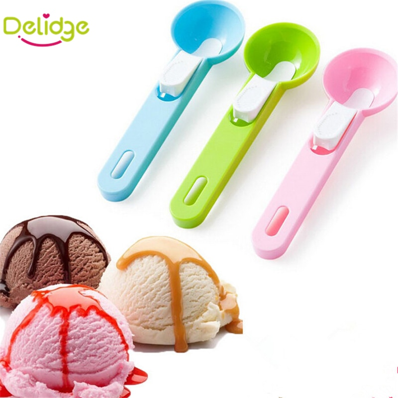 Delidge 1 pc Colorful Ice Cream Spoon Food -Grade Plastic Dig Ice Cream Ball Watermelon Fruit Digging Spherical Shape Cream