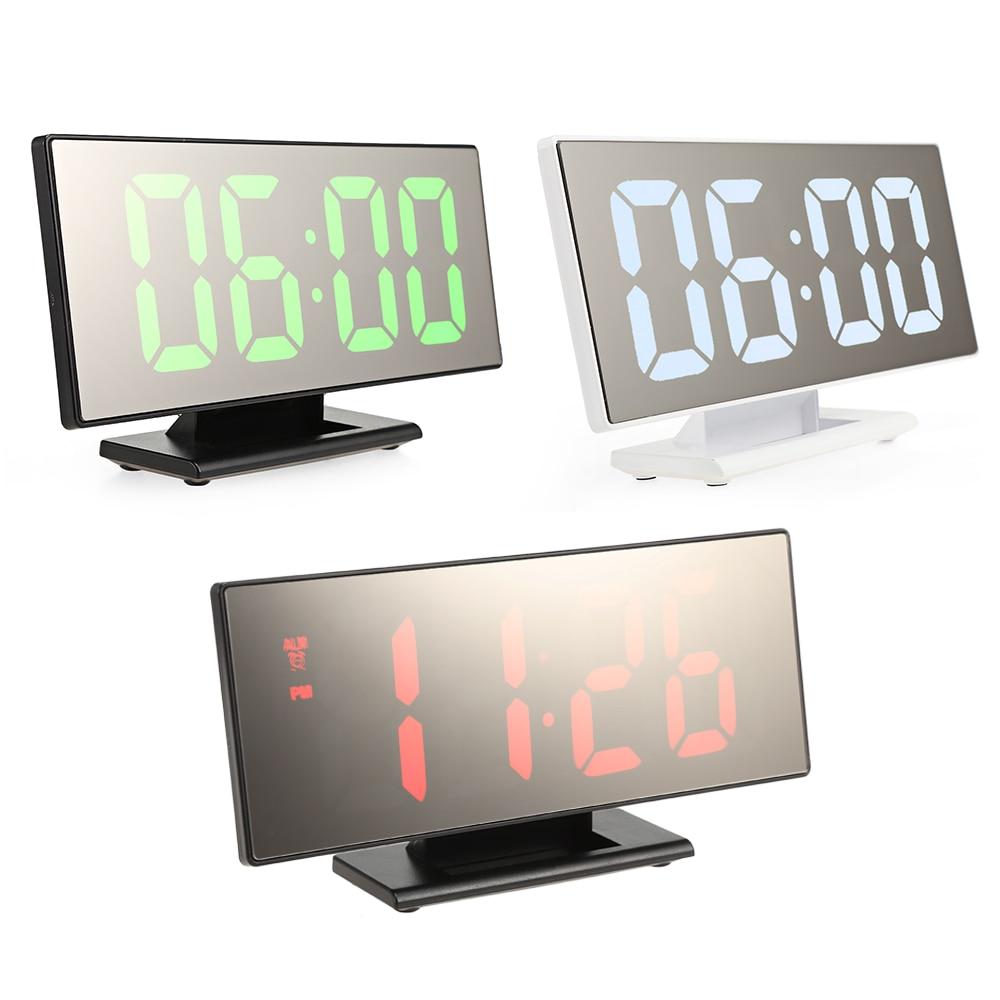 Digital Alarm Clock LED Mirror Clock Multifunction Snooze Display Time Night LCD Light Table Desktop Reloj Despertador USB Cable