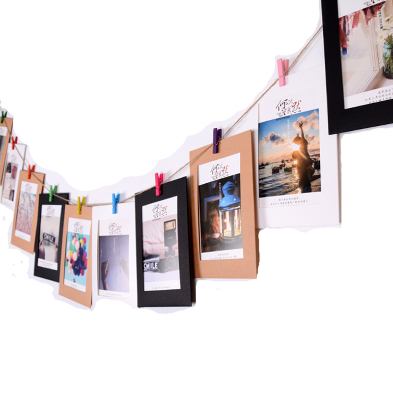 EACH PARTY 10Pcs Paper Frame with Clips 3/4/5/6/7 Inch Wall Photo Frame DIY Hanging Picture Album Party Home Decorations 2M Rope