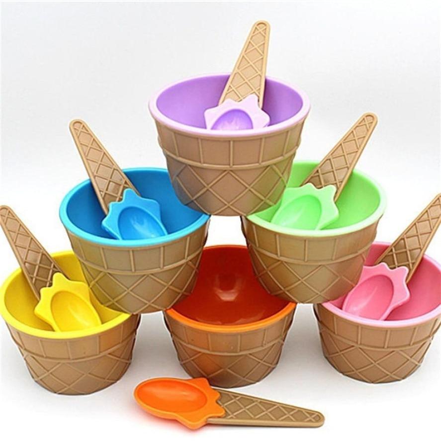 HOT 1Set Kids Ice Cream Bowl Spoon Set Durable Children Gifts Lovely Dessert Bowl DIY Ice Cream Tools  icecream bowl+spoon 30