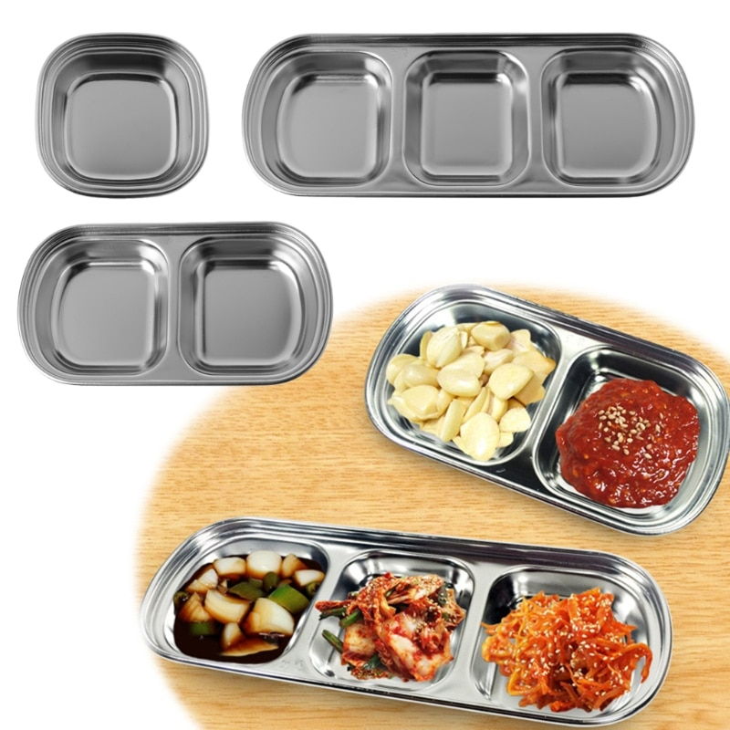 HOT Nice-looking utilitarian Stainless Steel Assorted Salad Sauce Dipping Dish Tray Bowl Kitchen Tableware