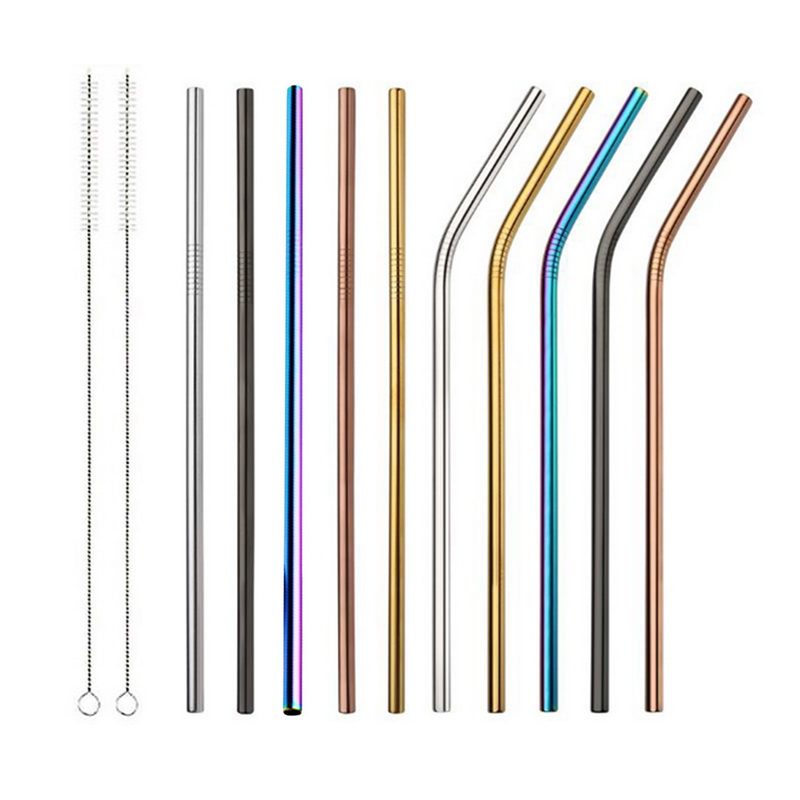 Hoomall 1/2/4pcs Stainless Steel Straw Reusable Metal Drinking Straw With Cleaner Brush For Home Party Barware Bar Accessories
