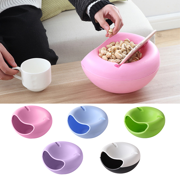 Hot New Arrival Useful Double Layers Snacks Fruit Plate Bowl Dish Phone Holder For TV Lazy Home Kitchen Container Accessories