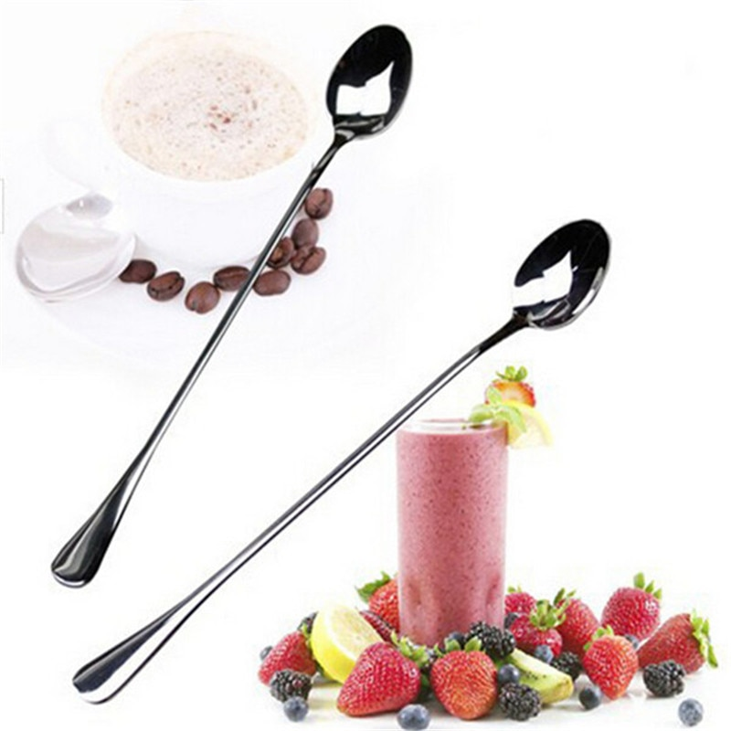 Hot sale 1Set/2PCS Long Handle Stainless Steel Tea Coffee Spoons Ice Cream