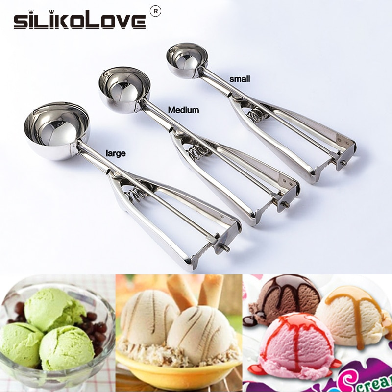 Ice Cream Scoop Stainless Steel Cookie Dough Scooper For Fruit Melon Baller Digging Ball Kitchen Confectionery Tool Accessories
