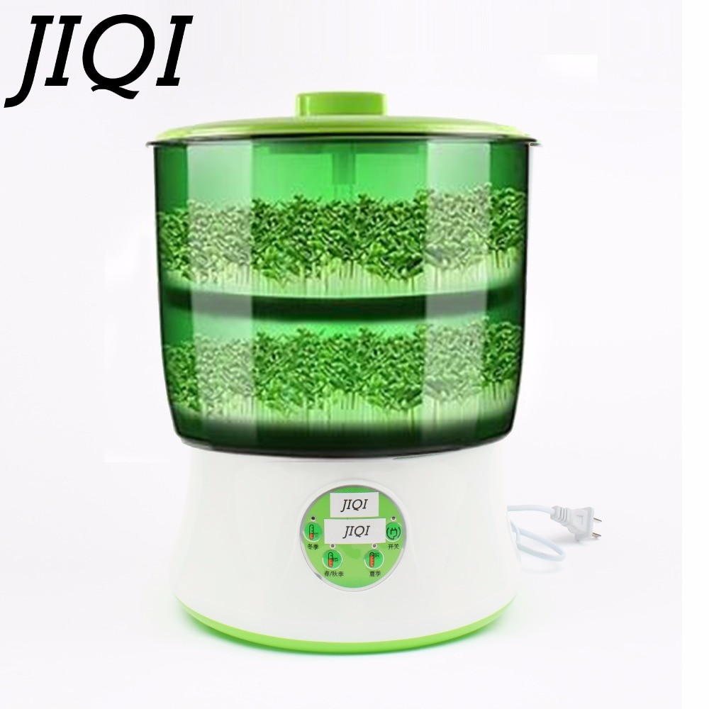 JIQI 110V Automatic Bean Sprouts Maker Thermostat Electric Germinator Vegetable Green Seedling Sprout Growth Bucket Machine US