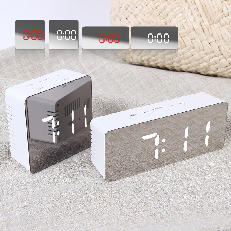JULY'S SONG Digital Alarm Clock Mirror Digital Clock LED Snooze Night Lights Temperature Table Clocks USB Despertador Home Decor