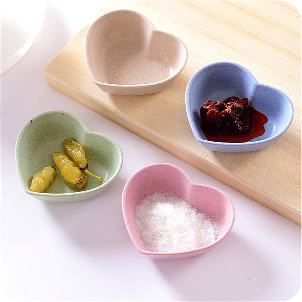 Lovely Heart Shape1PC Icecream Container Solid Color Tableware Dinner Plates Round Shape Fruit Snack Sauce Bowl Kids Feed Food