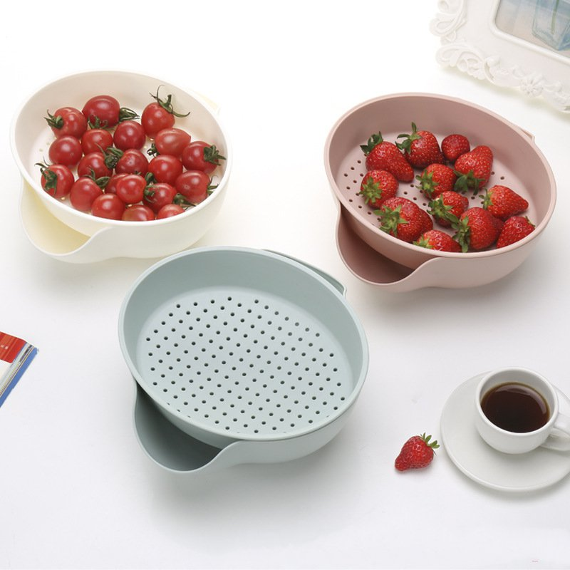 Minch Snack Plate Fruit Drain Plates Colander Double Layer Snacks Holder Multifunctional Plastic Nuts Bowl Food Storage Tray