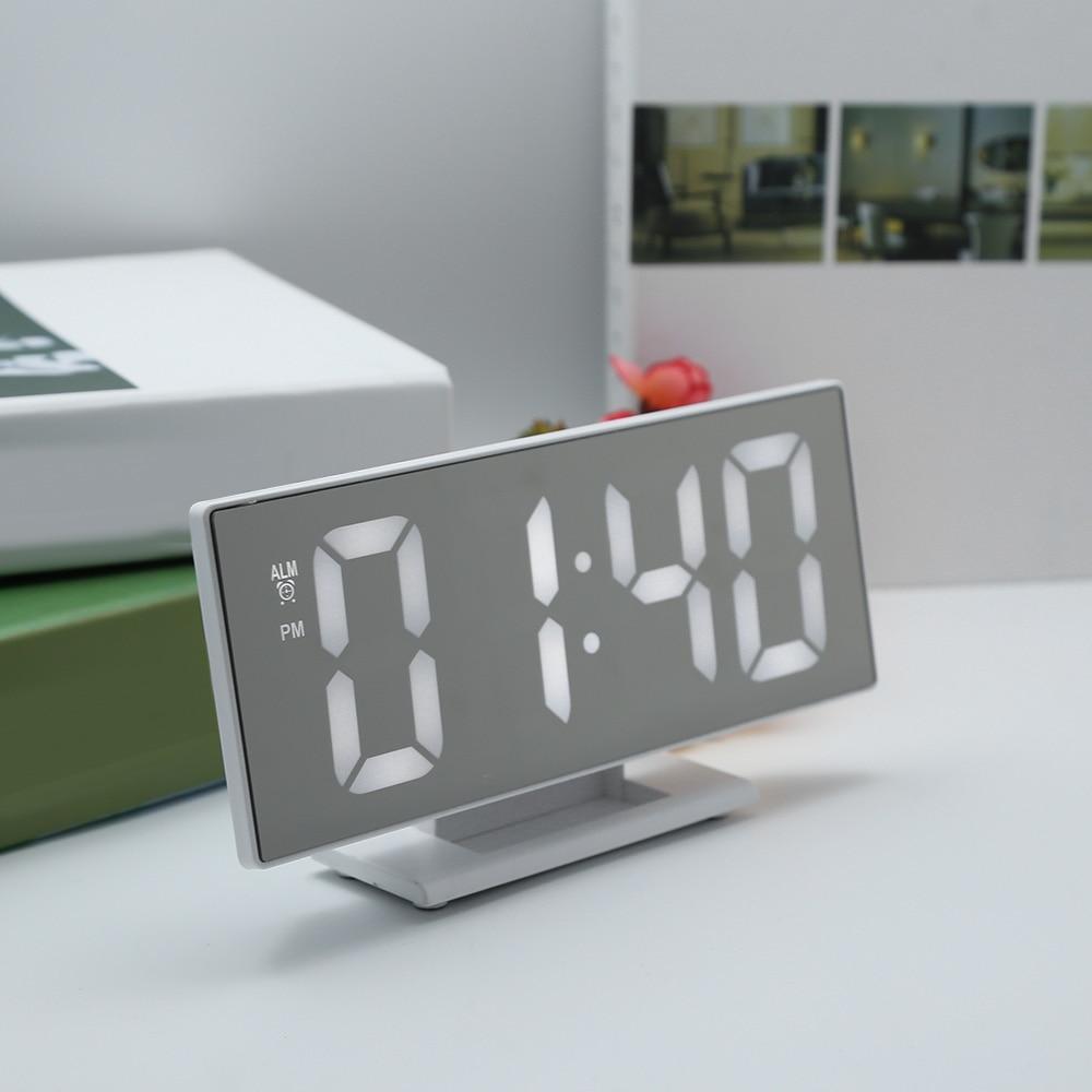 New Upgrate Digital Alarm Clock LED Mirror Clock Multifunction Snooze Display Time Night Led Table Desktop reloj despertador