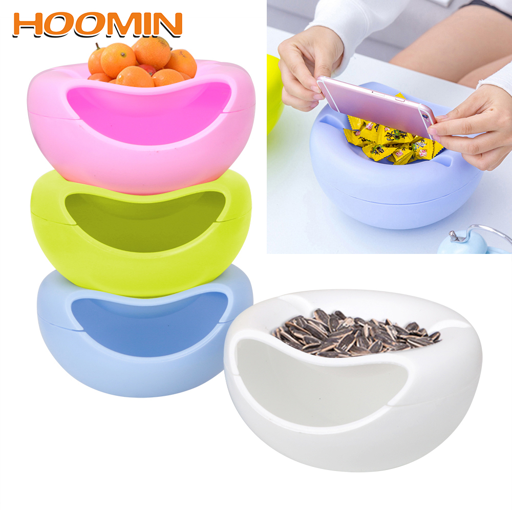 Plastic Fruit Dish Snacks Nut Melon Seeds Bowl Multifunctional Basket Peels Shells Fruit Skin Box Double Layer Candy Plate