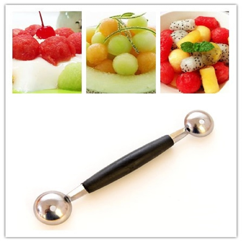 Stalinless Steel Multifunction Dual Double-end Melon Ice Cream Spoon Sorbet Dessert Dig Ball Spoon Fruit Scoop Kitchen Cook Tool