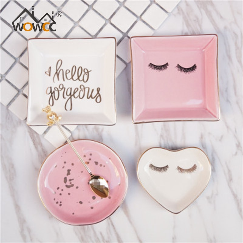 WOWCC Nordic Style Decoration Plate Pink Ceramic Cup Snacks Fruit Plates Dessert Bowl Dishes Bone China Dinnerware Accessories