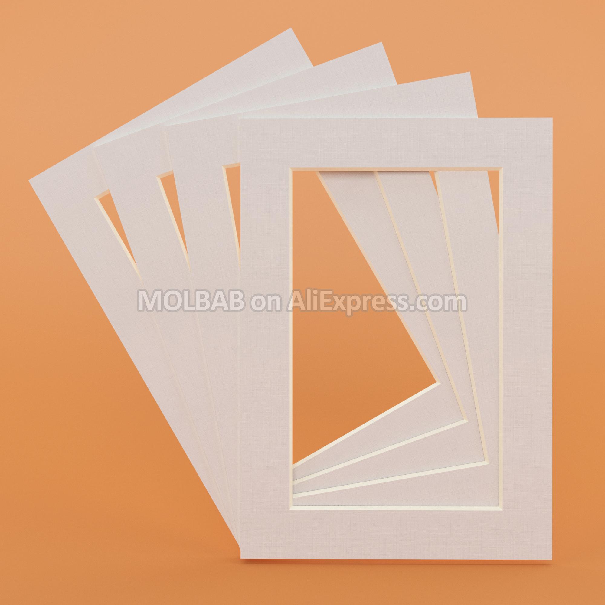 White/Black Photo Mats Rectangle/Oval Paper Mounts Unique Textured Surface For 6/7/8 inch Picture Frames Passe-Partouts 6PCS/Lot
