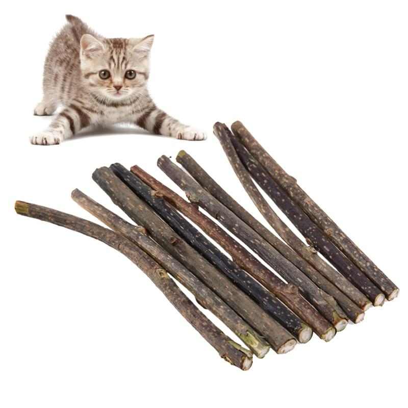 10pcs Cat Toy Cleaning Teeth Pure Natural Catnip Snacks Pet Cat Molar Toothpaste Stick Natural Silvervine Toys for cats