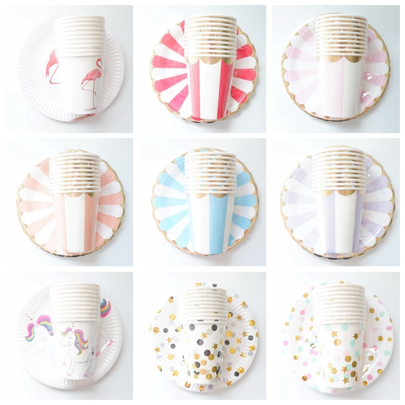 20pcs/set Colorful Striped Paper Cups&Plates Wedding Birthday Decoration Baby Shower Festival For Kids Tableware Party Supplies