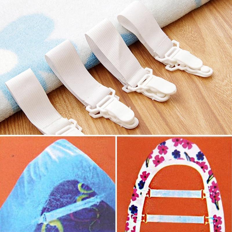 4pcs home bed sheet mattress blankets holder Straps with 2 Non-Slip Clips bed sheet fastener elastic gripper clip set for bed