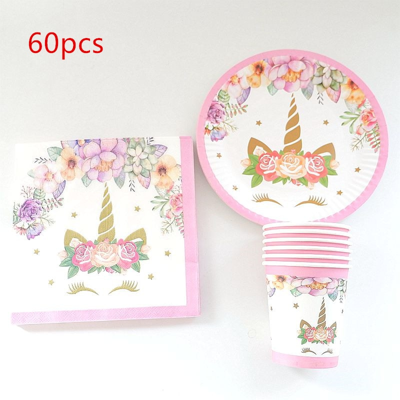 60PCS=20pcs plates+20pcs cups+20pcs Napkins Unicorn Theme Decorate Birthday Party Tableware Set Baby Shower Girls Favor Supplies