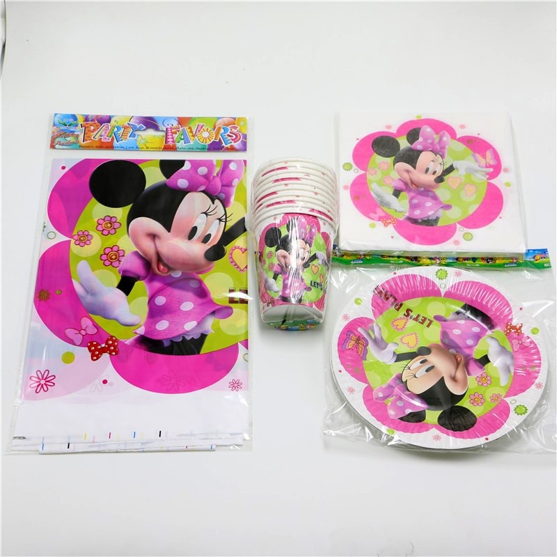 61pcs  lot Kids Baby Shower Favors Tablecloth Cartoon Decoration Plates Minnie Mouse Birthday Party Napkins Cups Events Present