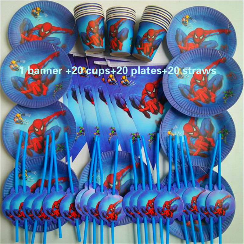 61pcs spiderman banner 20 People kids birthday party party decoration sets paper garland plates cups baby shower supplies