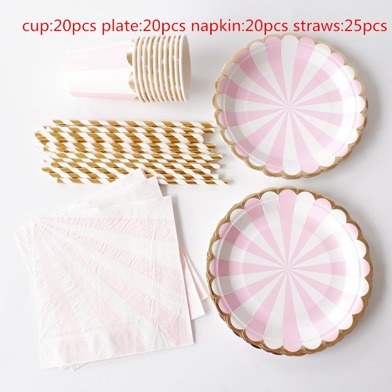 85pcs Stripe Disposable Paper Plates Cups Napkins Straw Kids Party Tableware Sets Kids Birthday Bridal Shower Girls Day Decor