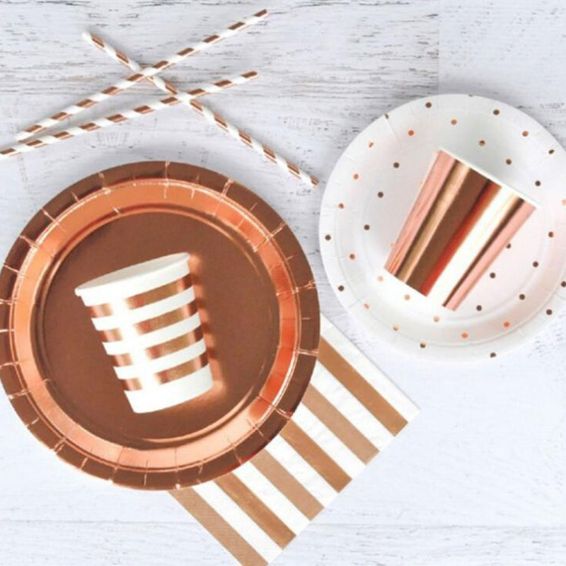 8Pcs Rose Gold Series Gilding Paper Straws/Cup/Plate/ Disposable Tableware Party Supplies Wedding/Birthday/ Pool Party Decor