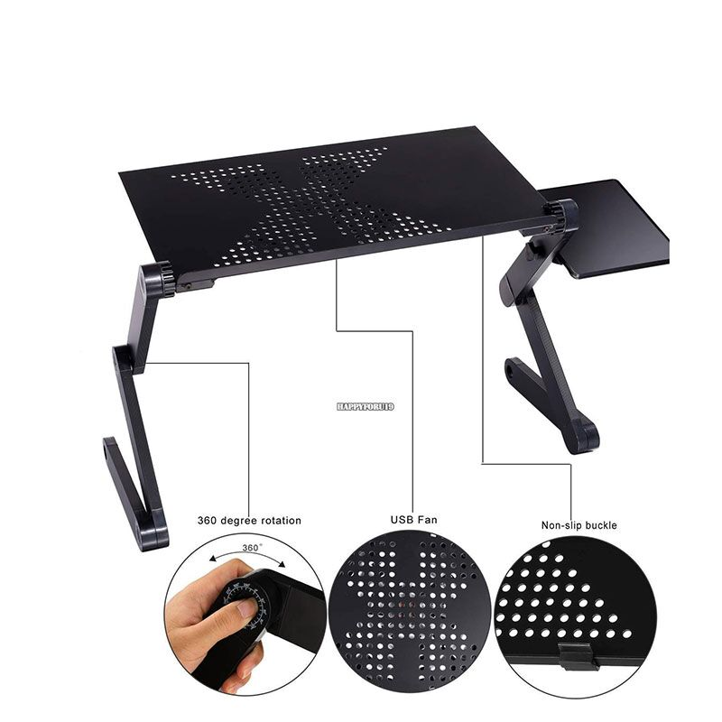 Actionclub 360 Degree Adjustable Laptop Table Portable Foldable Computer Desk Bed Desk With One Big Cooling Fan