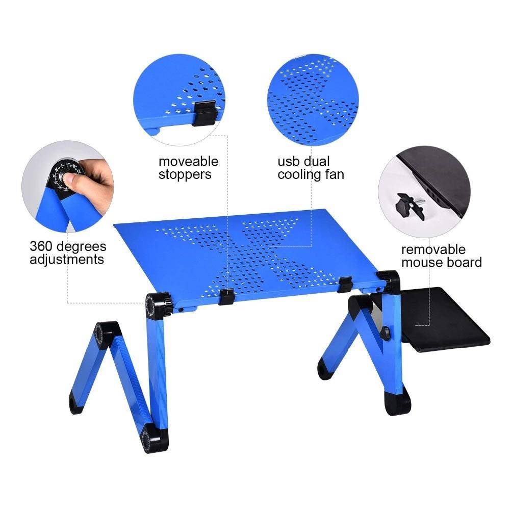 Actionclub Aluminum Alloy Laptop Table Simple Portable Folding Computer Desk Adjustable Laptop Desk With Mouse Pad Cooling Fans