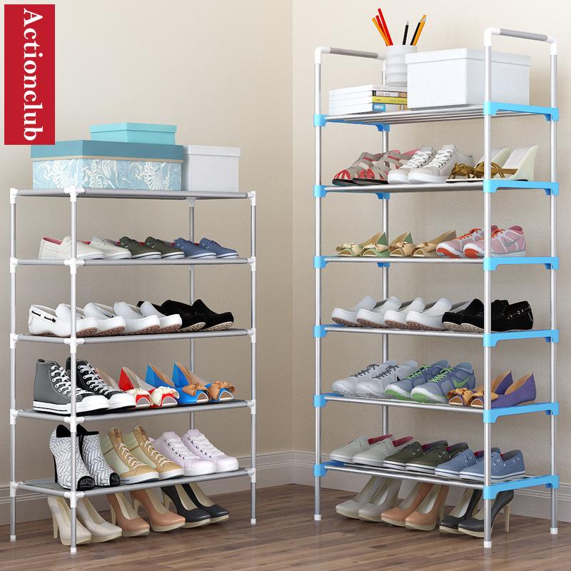 Actionclub Simple Multi-layer DIY Assembly Metal Iron Shoe Shelf Student Dormitory Shoe Storage Rack Large Capacity Shoe Cabinet
