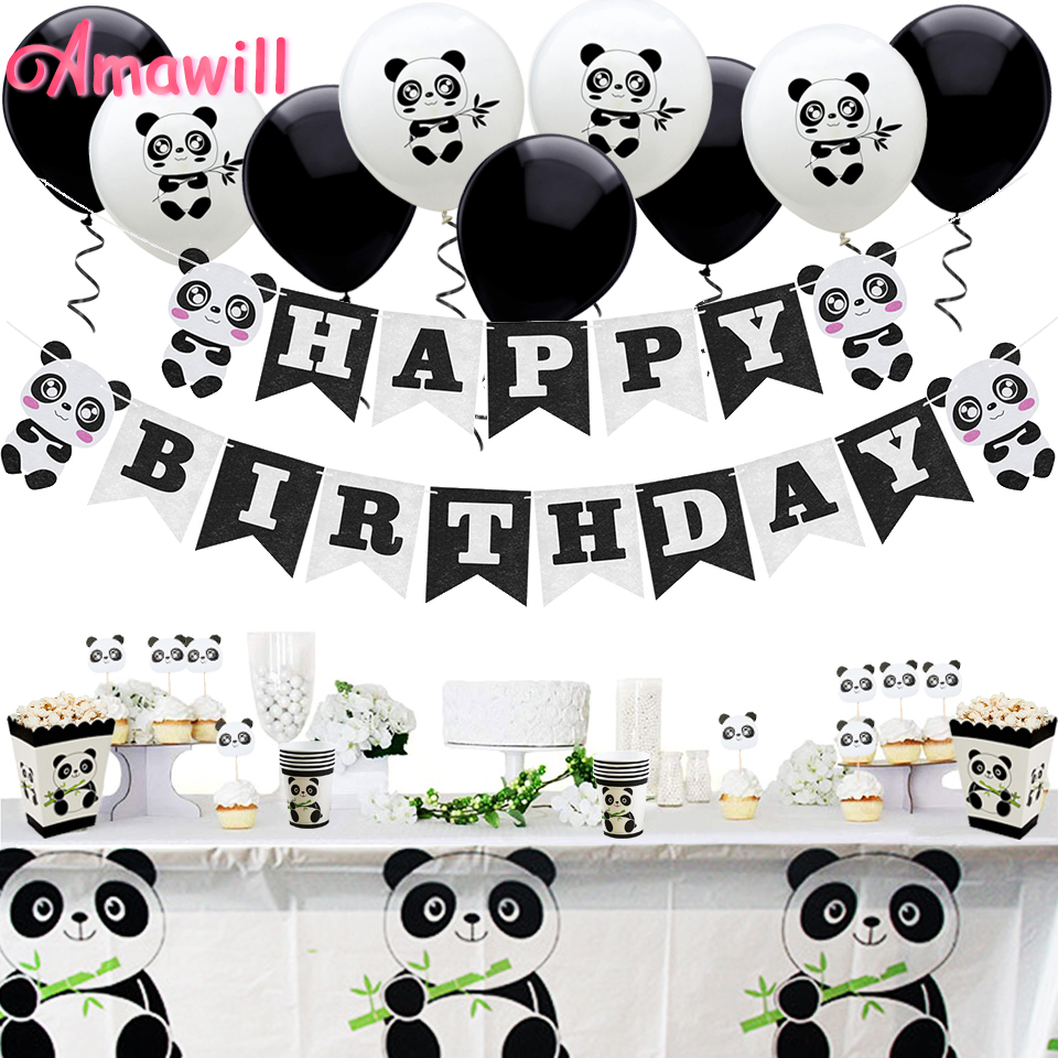Amawill Panda Party Decorations Supplies Happy Birthday Banner Panda Balloons Cake Toppers Gift Bags For Baby Shower Boy Girl 7D
