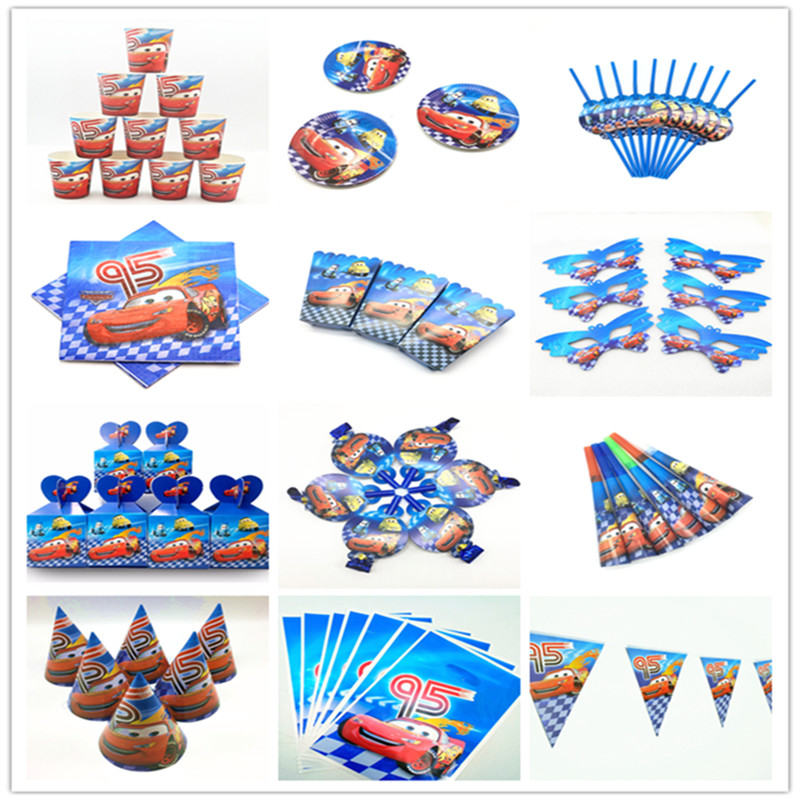 Cartoon Dinsey Cars Theme Paper Cup Plate Straw Child Boy Lightning McQueen Birthday Gift Bag Banner Candy Box Tablecloth Supply