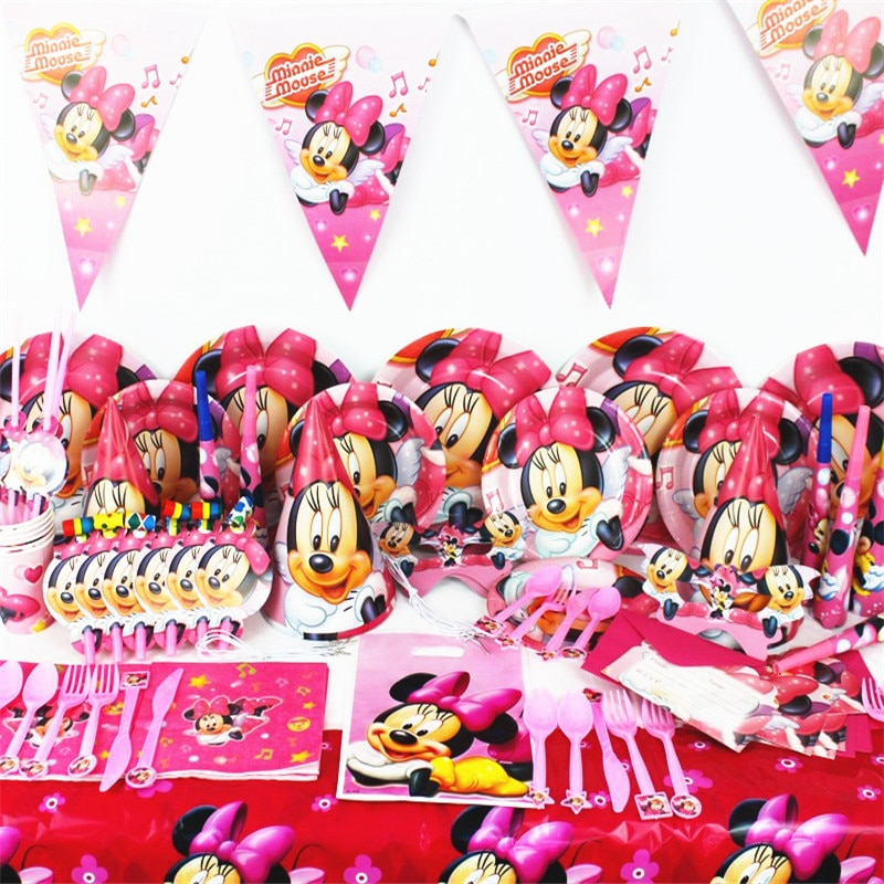 Cute Minnie Mouse Theme Paper Cup Plate Cap Mask Plastic Straw Gift Bag Boy Girl Birthday Party Baby Shower Decoration Supply