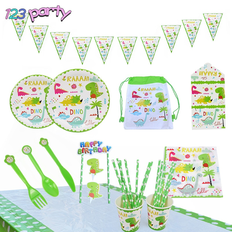 Dinosaur Theme Tableware Birthday Party Decoration Kids plate Cups hats Tablecloth Balloon Flag Straw Party Supplies