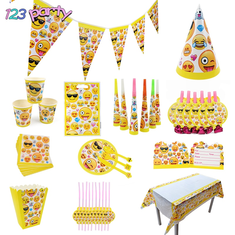 Emoji Disposable Tableware Party Supplies Kids Party Decoration Paper Cup Plate Paper Towel Disposable Tableware Supplies