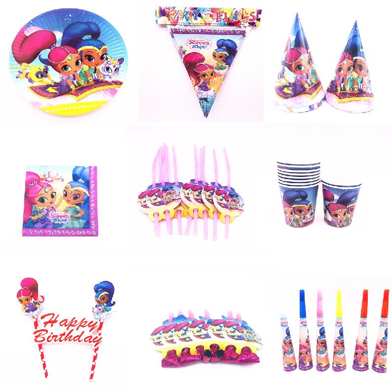 Hot Shimmer shine Theme Cartoon Party Set Tableware Plate Napkins Banner Birthday Candy Box child Shower Party Decoration