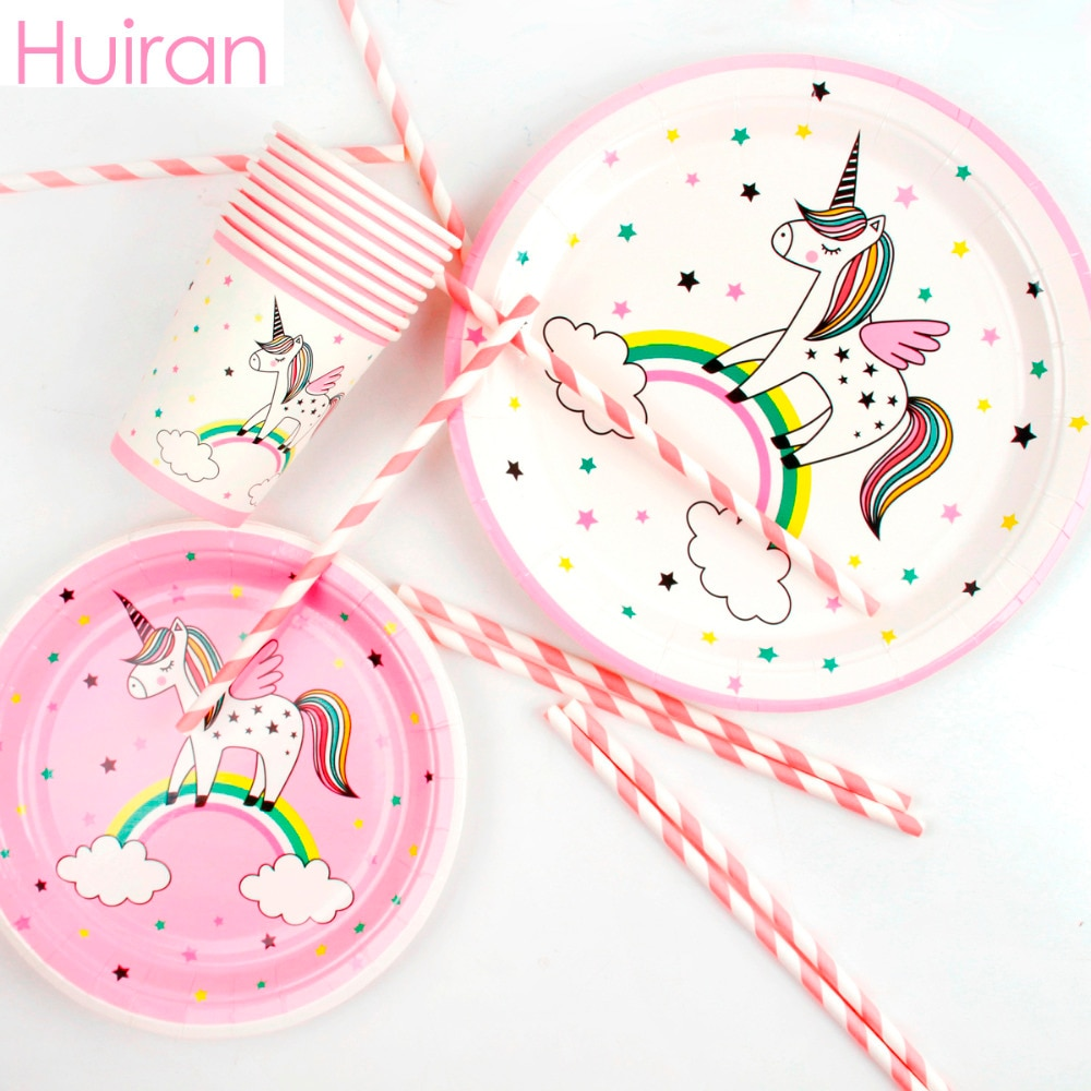 Huiran Unicorn Disposable Tableware Disposable Paper Plate Cups Unicorn Birthday Party Decorations Kids Party Supplies Unicornio