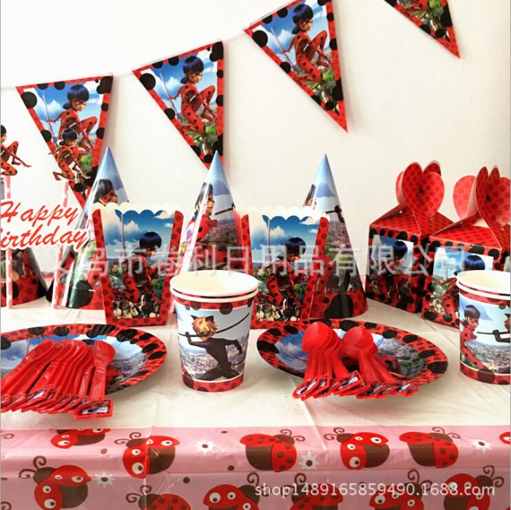 Ladybug Cat Disposable Tableware sets TableCloth cups Paper plate Knife fork Spoon Birthday Party Decoration