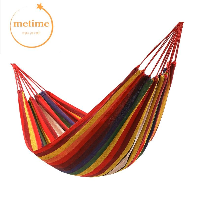 METIEM Single200x100/Double 200x150cm garden swings outdoor camping hammock indoor hanging chair bed portable rope for children