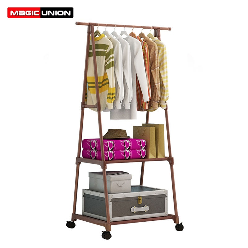 Magic Union Creative Multi-functional Clothes Rack Simple Coat Rack Movable Hanger Home Bedroom Floor Standing Clothes Hanger