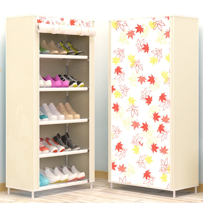 Maple Leaf Candy Color Shoe Racks Cabinet Shoes Rack Space Saver Boot Organizer Shelf Home Furniture DIY Assembly Non-woven