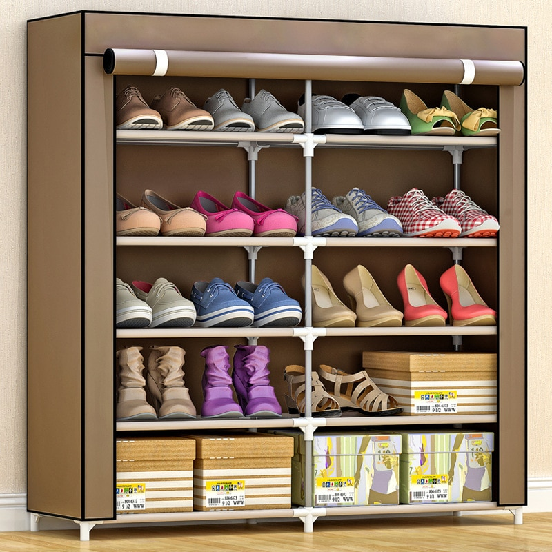 Modern Large Shoe Rack With Cover Shoe Cabinet Closet Wardrobe Organizer Display Racks And Standing Shelves Home Furniture