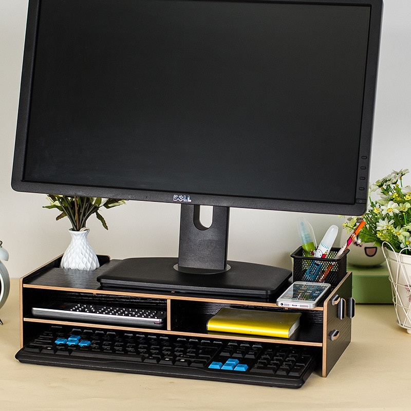 Office Computer Shelves with Drawer Computer Monitor Base Rack Wooden Assembled Laptop Tray 48*20*11.5cm Table Organizer