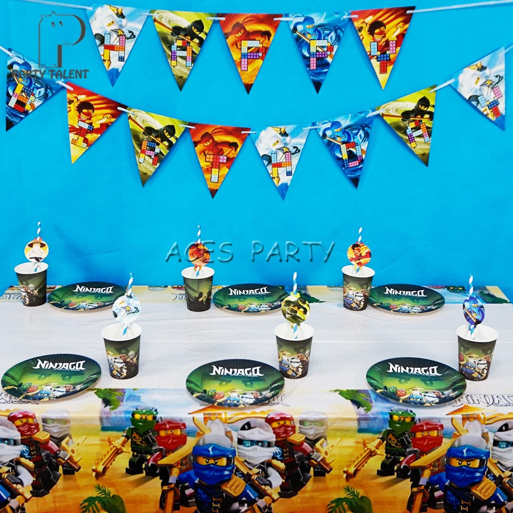 Party supplies 38pcs for 12 kids Ninjago theme birthday party decoration tableware set, plate+cup+straw+banner+tablecover+topper
