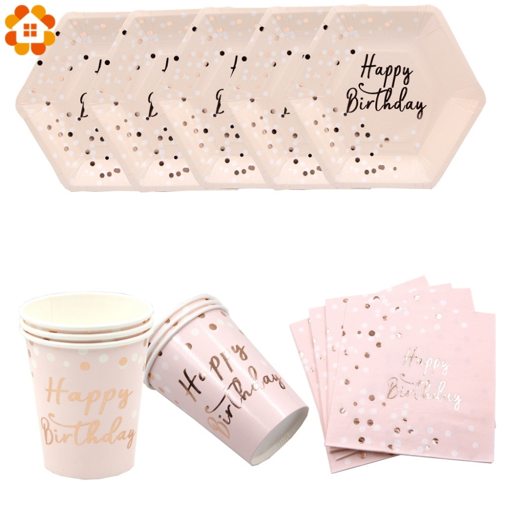 Pink Happy Birthday Series Disposable Tableware Gilding Paper Straws/Napkin/Cup/Plate For Home Kids Birthday Party Decoration