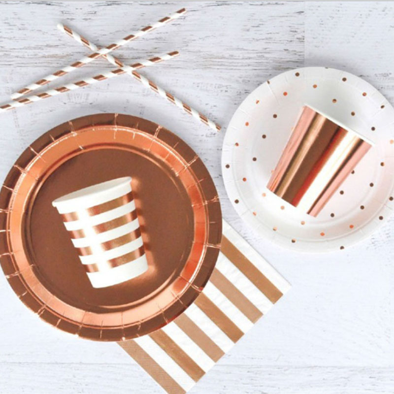 Rose Gold Disposable Tableware Sets Party Cup Plate Nakpins Straw Party Tableware for Wedding Decor Birthday Party Supplies