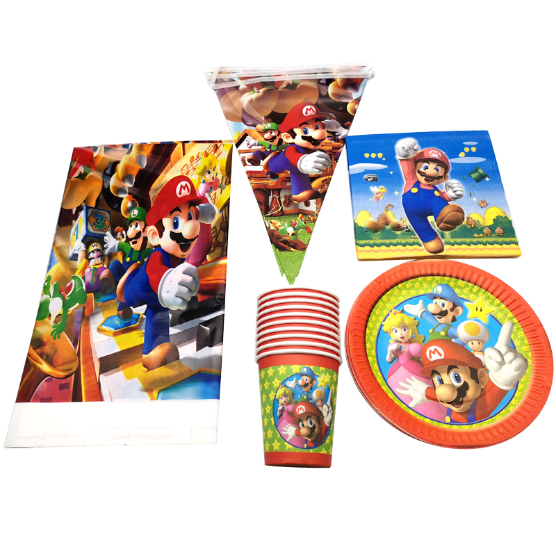 Super Mario Theme Tableware Set Birthday Party Decorate Napkins Plates Cups Baby Shower Table Cover Hanging Banner 51PCS/LOT