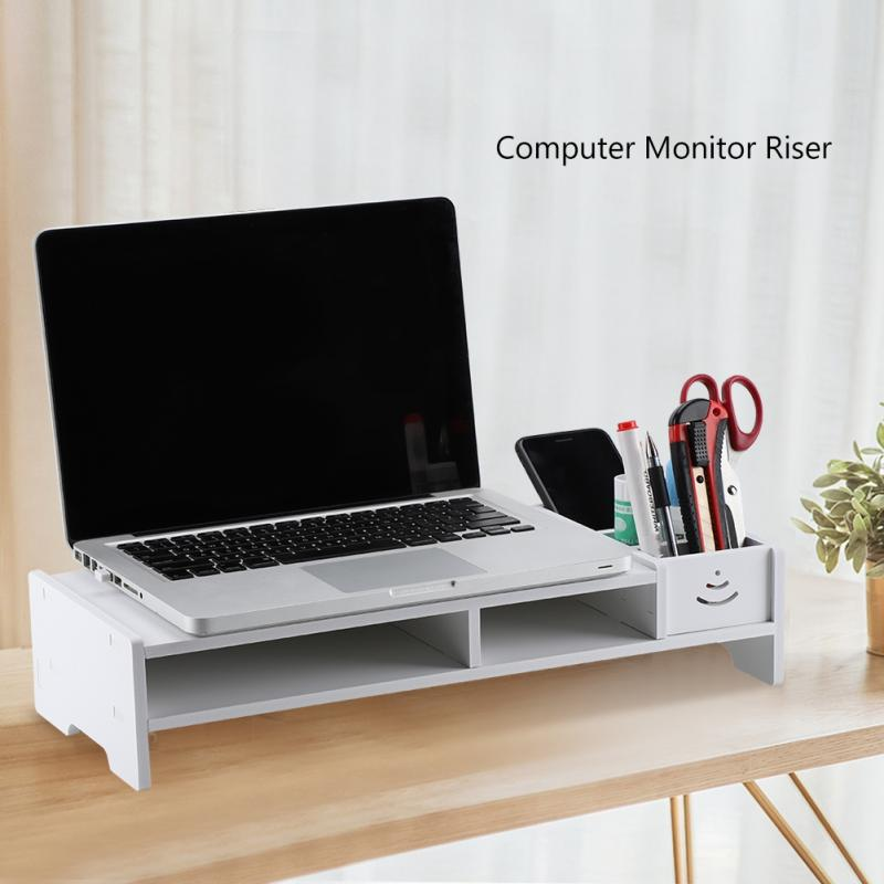Wooden Computer Monitor Riser Laptop PC Stand for Office Supplies School Teacher Desktop Table Storage Organizer Shelf