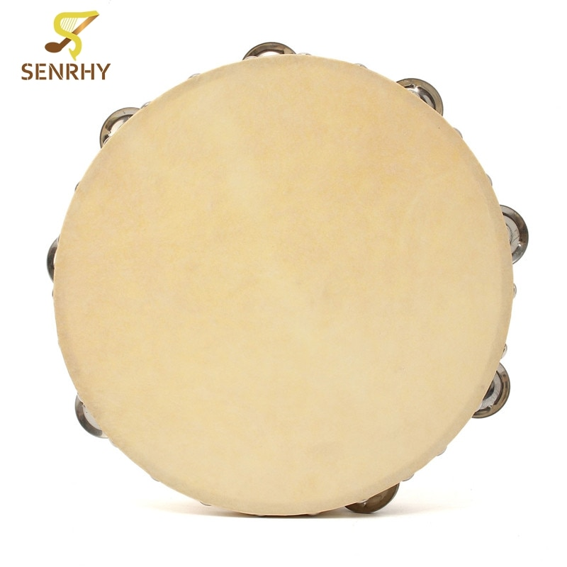 10 Inch Hand Held Tambourine Drum Bell Metal Jingles Percussion Musical Educational Instruments For KTV Party Kids Games