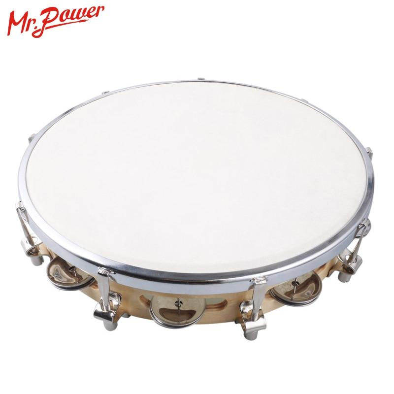 "10"" Tambourine Capoeira Leather Drum Pandeiro Samba Brasil Wooden Tamborine Precussion Music Instrument For Sale"